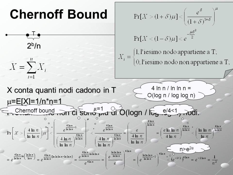 Chernoff Bound 2b/n X conta quanti nodi cadono in T =E[X]=1/n*n=1
